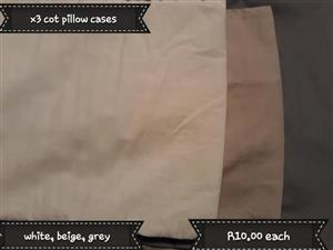 3 Cot pillow cases for sale