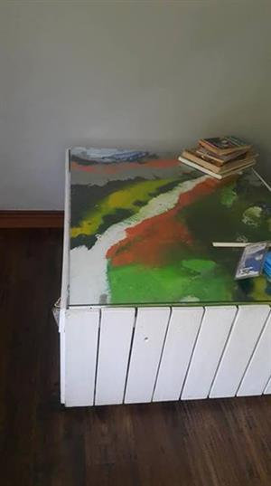 Coffee table with art work