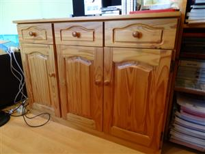 Pine wood cupboard : 3 drawers + 3 doors w: 120 cm, H:75 cm, d:46 cm