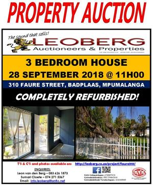 3 Bedroom House on Auction - 28 September at 11h00 - Badplaas, Mp