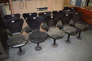 10 Black plastic chairs