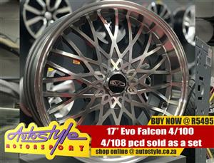 17 inch Evo Falcon 4-100-108 pcd sold as a set of four