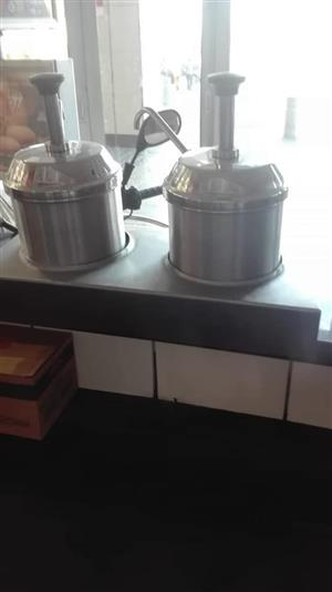 Stainless steel double saucer holder