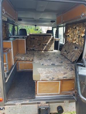 camping interior currently fitted to a 1991 Land Rover 110 Defender SW