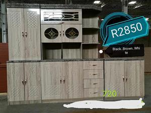 Black,brown and white kitchen unit