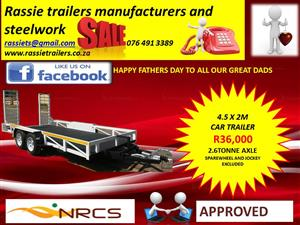 CarTrailers for sale double axle 2.6tonnewith mechanical brakes nrcs approved