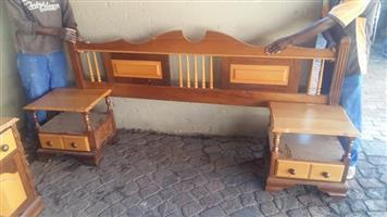 Wooden double headboard with cabinets