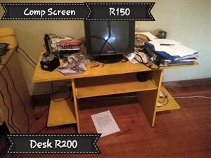 Black computer screen and desk for sale