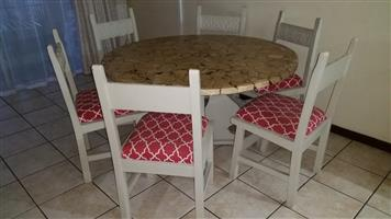 Dining Table, Round (1,36m diameter) with 6 Chairs, straight back