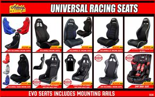 Racing seats, reclinable and non reclinable. Evo, genuine Sparco and OMP brands too. For cosmetic, race, drift, drag or street use.