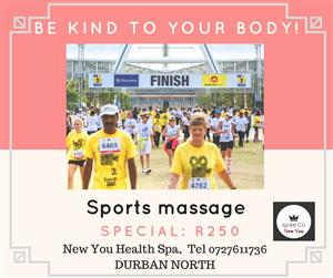Sports massage special R250 at New You Spa in Durban North tel 0727611736