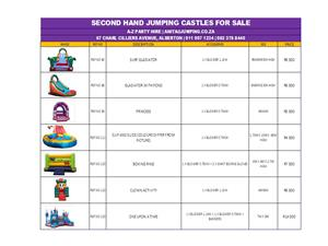 SECOND HAND JUMPING CASTLES / WATER SLIDES FOR SALE