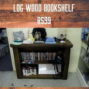 Log wood bookshelf