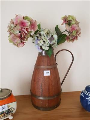 Wooden handle vase with flowers