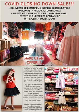 CHILDRENS CLOTHING COVID CLOSING DOWN SALE