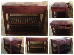 Kitchen Island Farmhouse series 1400 Mobile with drawers (Extended height) - Stained