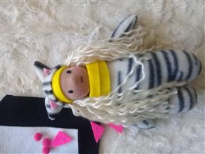 Handmade soft rag dolls/zebra/ cute one of a kind toy
