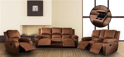 ATOZFURN 6 Seater Suite with 5 Recliners and Console