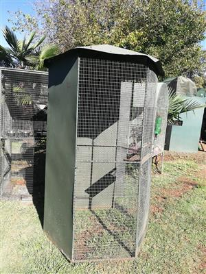 Cage painted green in great condition , 2 meters high and 1 meter diameter ideal for birds or small monkeys