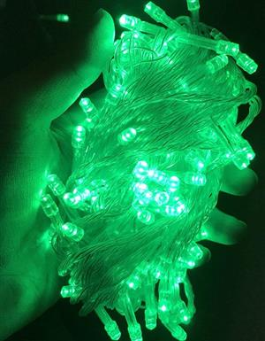 LED Decorative Fairy String Lights Waterproof 220V AC in Green. Extendable. Brand New.