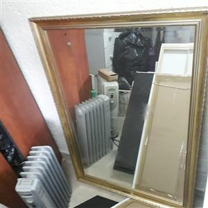 Beveled framed mirror 400mm x 1100mm. Excellent condition.