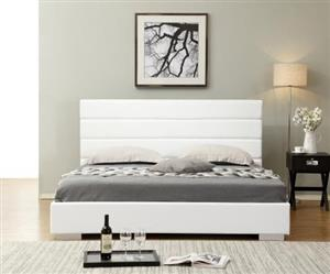 FINNEGAN FAUX LEATHER BED BASE WITH HEADBOARD- KING