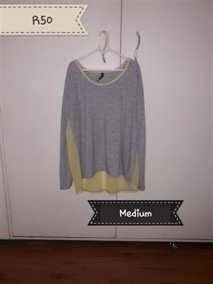 Medium gray and beige pajama top