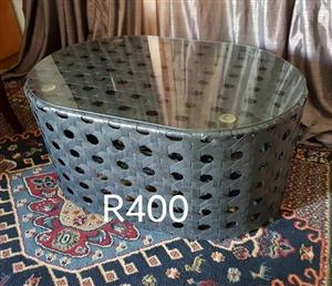 Gray woven glass top coffee table