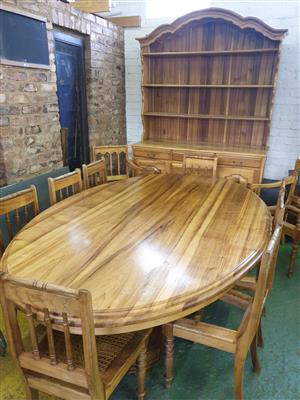 Solid Namibian Kiaat Dining Room Suite with Server