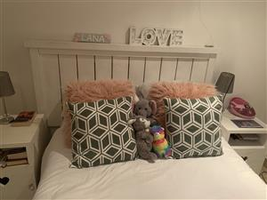 White wooden headboard, 2 side table, dressing table and mirror