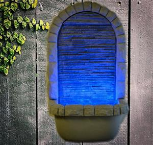 Wall mounted fibreglass water feature
