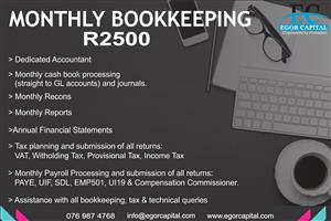 Monthly Bookkeeping, Financial Statements, Accounting, Adivisory