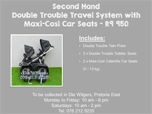 Second Hand Double Trouble Travel System with Maxi-Cosi Car Seats