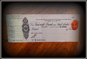 South African blank cheques from 1950 in pound R300 each only 17