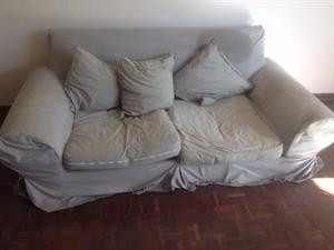 Couch 2 Seater Large Relaxer Grey Removable Covers