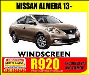 Nissan Almera 13- Windscreen for sale & fitted