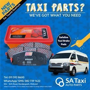 Safeline Taxi Brake Pads suitable for Toyota Quantum - SA Taxi Auto Parts quality new spares