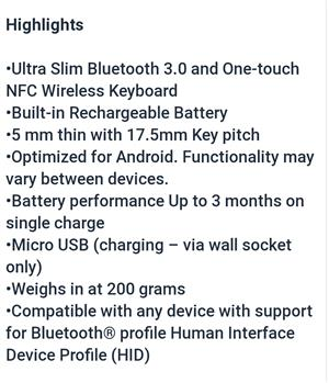 Ultra slim Bluetooth keyboard
