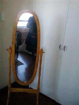 Vintage oval wooden framed mirror