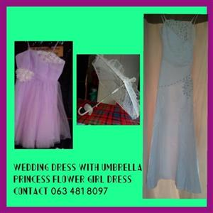 Selling a Wedding dress with umbrella and a flower girl dress.