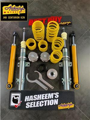 FK coil over kits available, lowering springs, shocks etc. drop your suspension. Jom range also available. Eibach too.