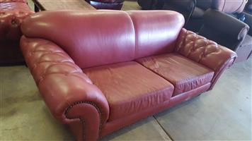 Coricraft 2 seater genuine leather Red couch