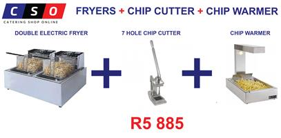 DOUBLE FRYER CHIP CUTTER CHIP WARMER COMBO SPECIAL