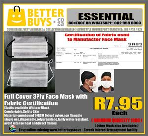 SPECIAL- Full Cover 3Ply Face Mask with Fabric Certificaion