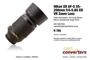 Nikon DX AF-S 55-200mm f/4-5.6G ED VR Zoom Lens for sale  Parow