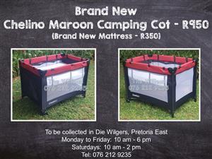 Brand New Chelino Maroon Camping Cot (Brand New Mattress - R350)