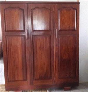 Bespoke African Teak 3 door wardrobe and dresser