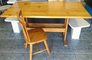 Pinetable & Chair 1460cm length x 790cm wide x 750cm high In prestine condition