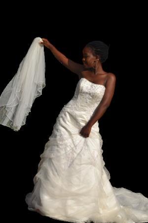 Oleg Cassin Wedding dress/size 8-10(Bust 30-34)+Veil