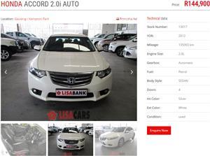 2012 Honda Accord 2.0 automatic